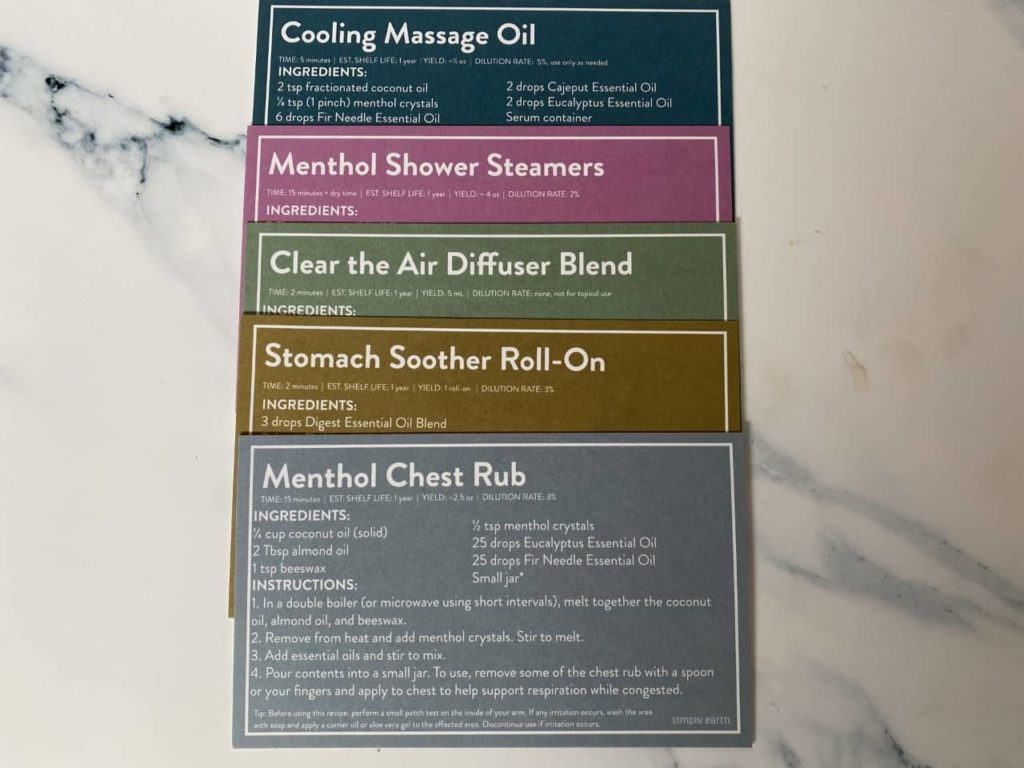 simply earth essential oil recipe box for october 2021
